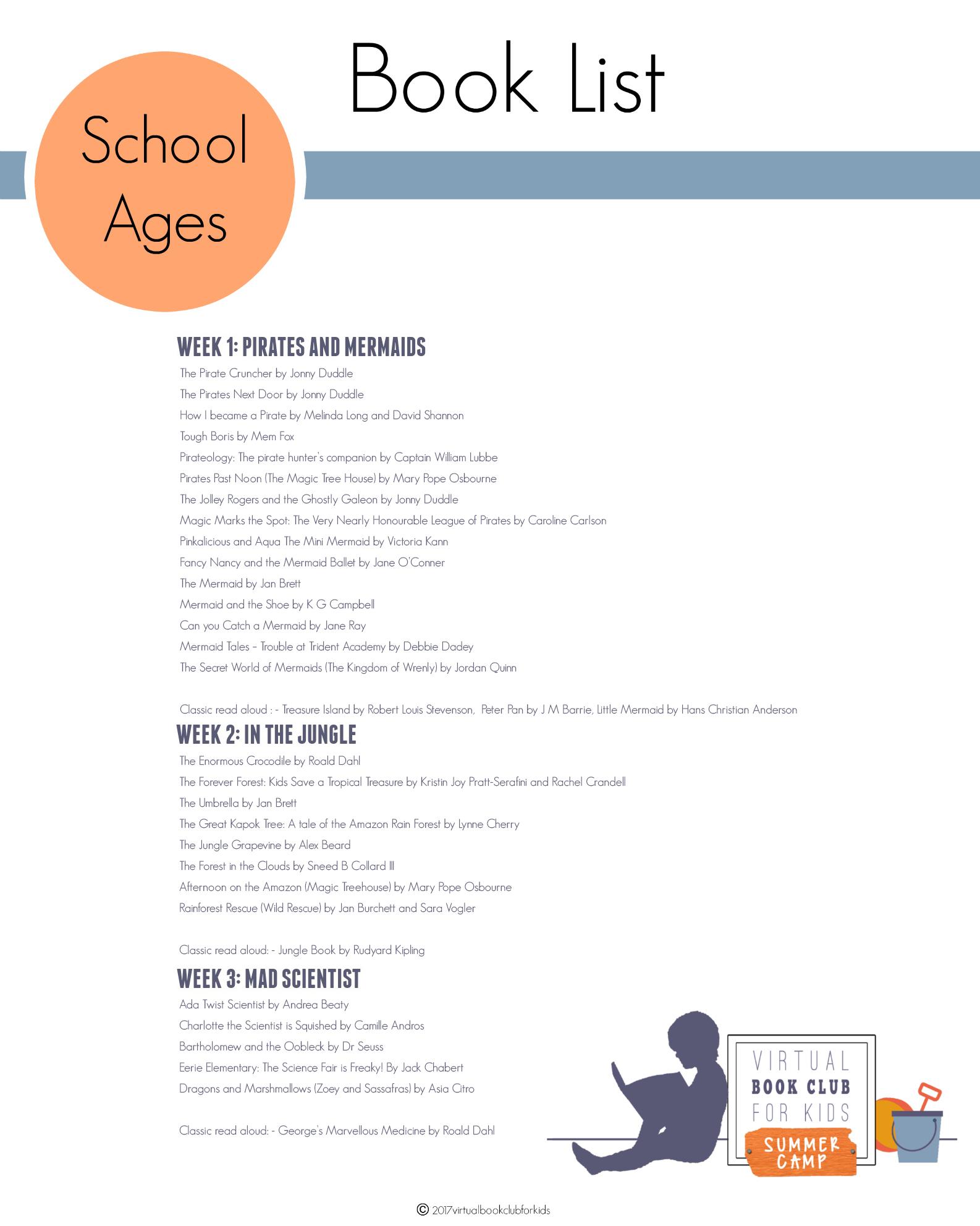 School Kids Book List for Virtual Book Club Summer Camp