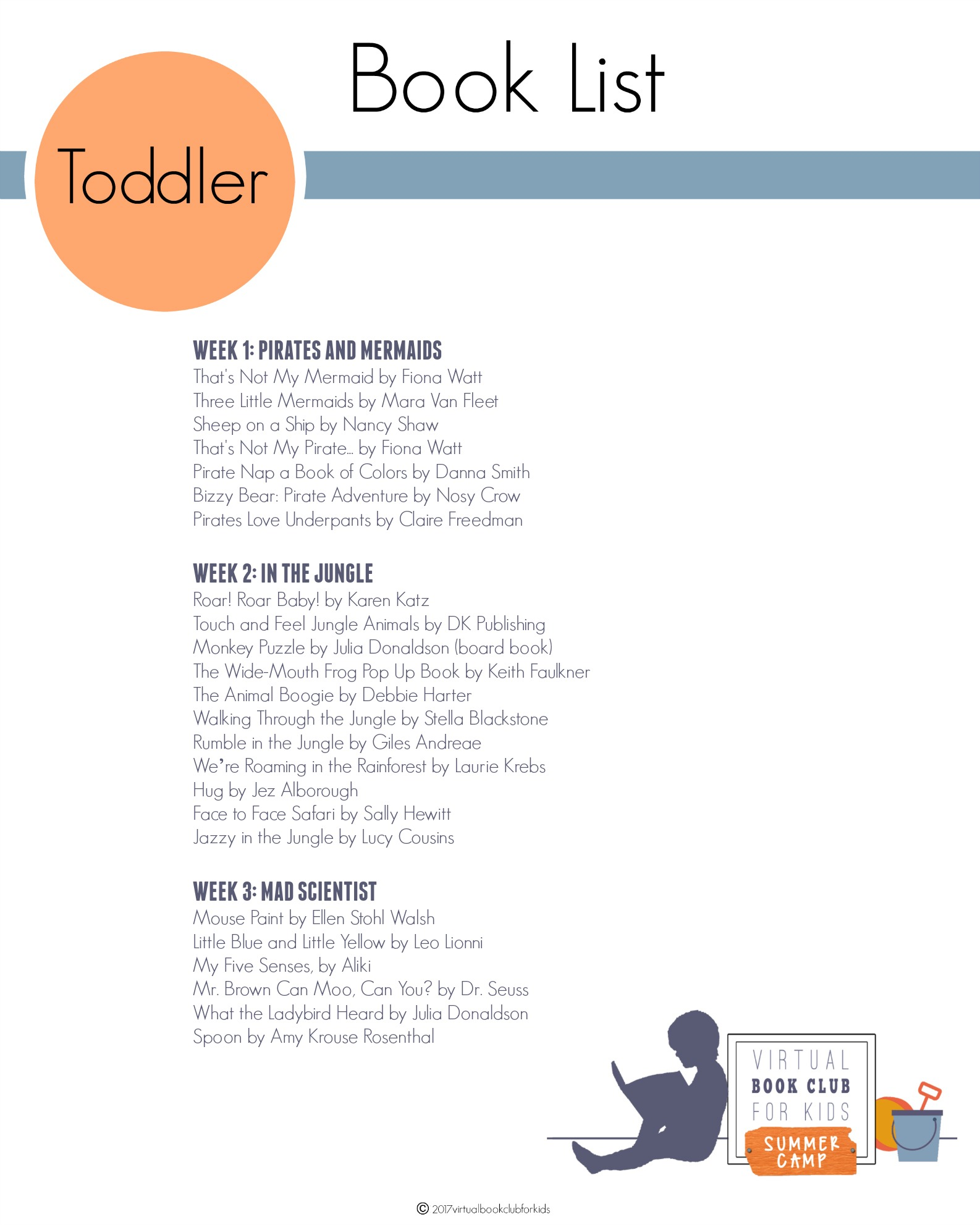 Toddler Book List for Virtual Book Club for Kids Summer Camp