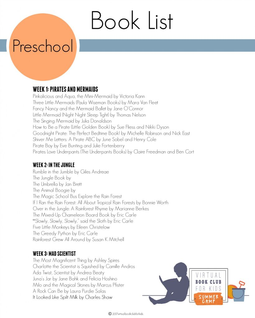 VBC Book List for Preschool for Summer Camp 2017