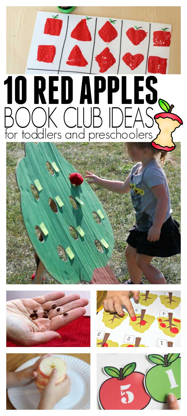 Collage of fun apple themed activities to do with toddlers and preschoolers