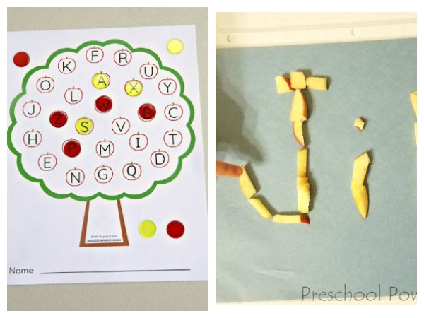 Apple themed activities to learn the alphabet and how to write your name ideal for toddlers and preschoolers