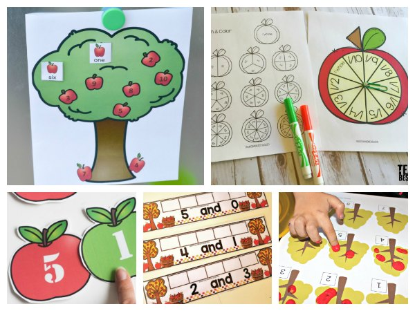 Apple number and other math activities for early years and kinder children to do at home or in the classroom