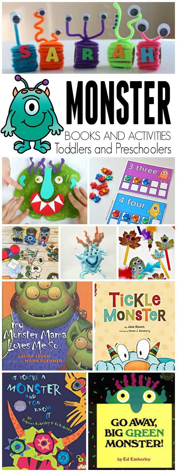 Monster-themed fun and learning based on the book Go Away Big Green Monster by Ed Emberley for toddlers and preschoolers.