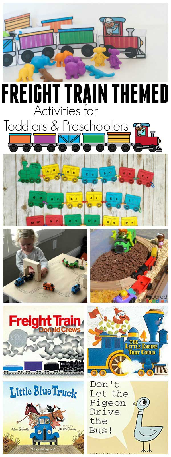 Transportation themed activities and crafts for toddlers and preschoolers based on the classic children's book Freight Train by Donald Crews.