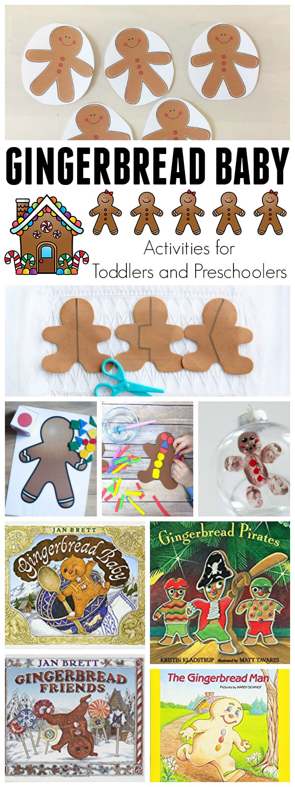 Fantastic Selection of Gingerbread activities based on the beautifully illustrated Gingerbread Baby by Jan Brett for Toddlers and Preschoolers.