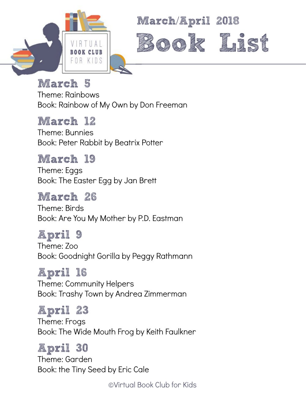 Weekly themes and Featured Books for The Virtual Book Club for Kids