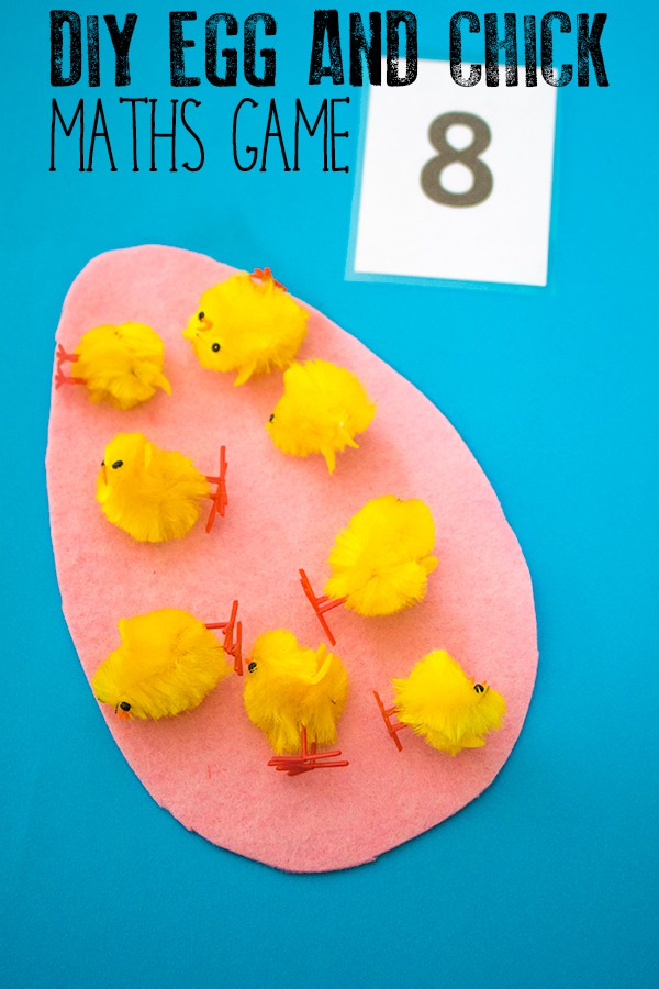 Pretend Chicks Used for Math Game on Paper Egg