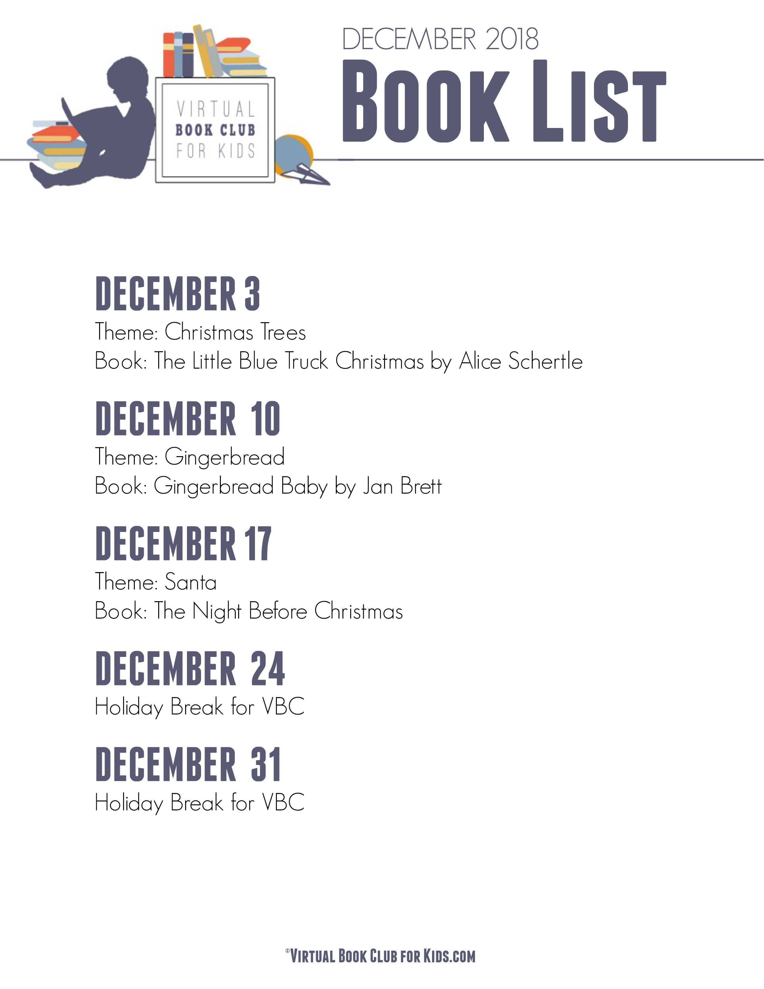 December Book List for Virtual Book Club for Kids 2018