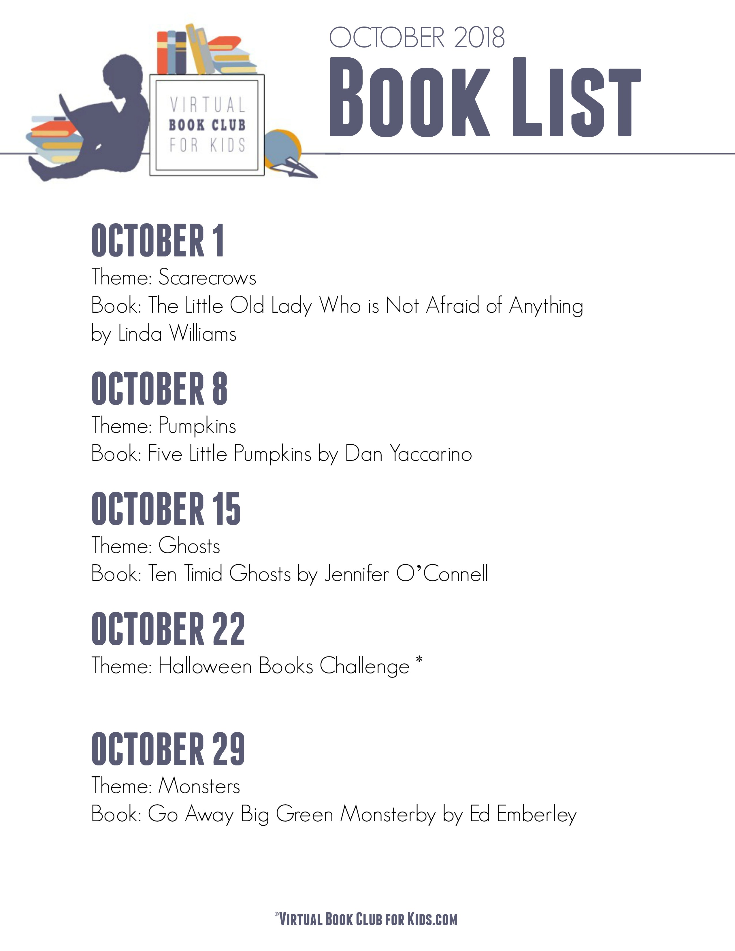 Theme and book list for the Virtual Book Club for Kids for the Month of October
