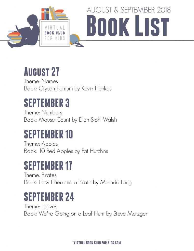 SEPTEMBER BOOK LIST FOR VIRTUAL BOOK CLUB FOR KIDS