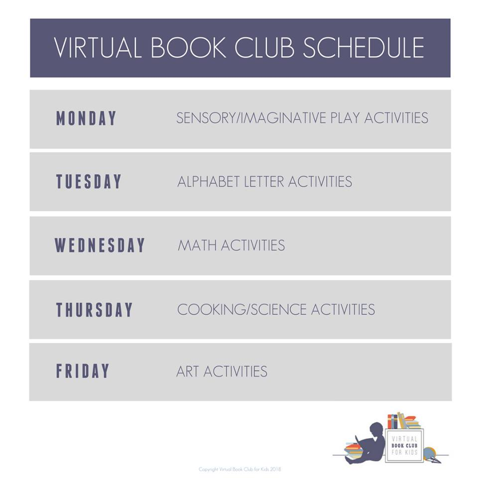 structured weekly schedule for the virtual book club for kids