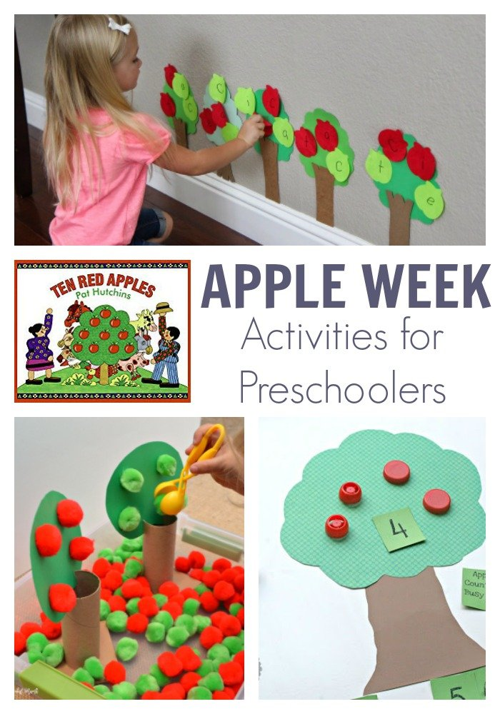 Apple Week Activity Plan for Preschoolers. Featuring the book 10 Red Apples by Pat Hutchins this simple plan of hands-on activities is ideal for preschoolers to read, learn, play and create with.