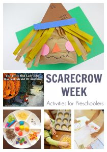 Fun week of scarecrow themed activities for preschoolers inspired by the book The Little Old Lady Who Was Not Afraid of Anything.