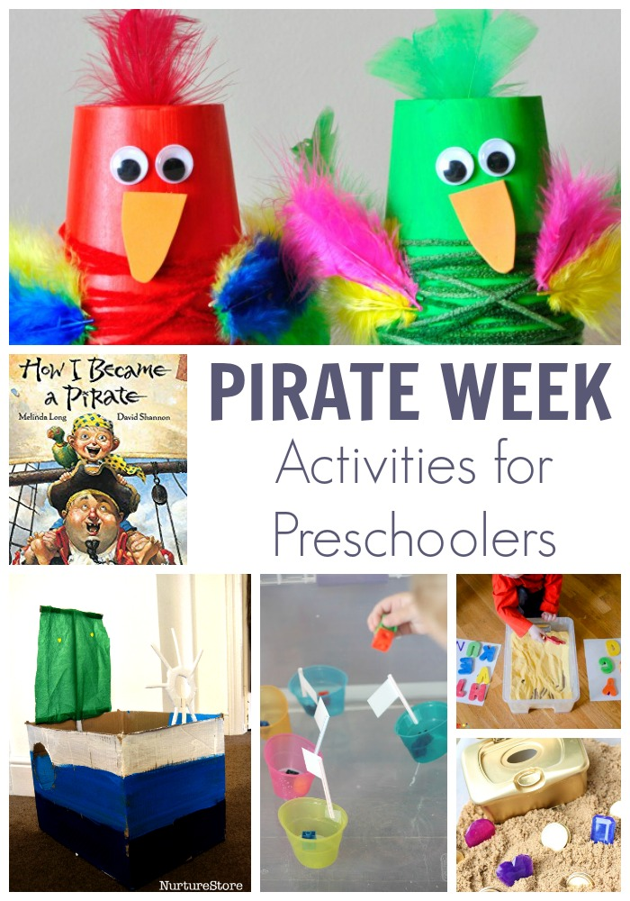 Pirate Week Activity Plan for Preschoolers inspired by the book How I Became a Pirate. Featuring 5 simple play, learn and create activities for a fun week.