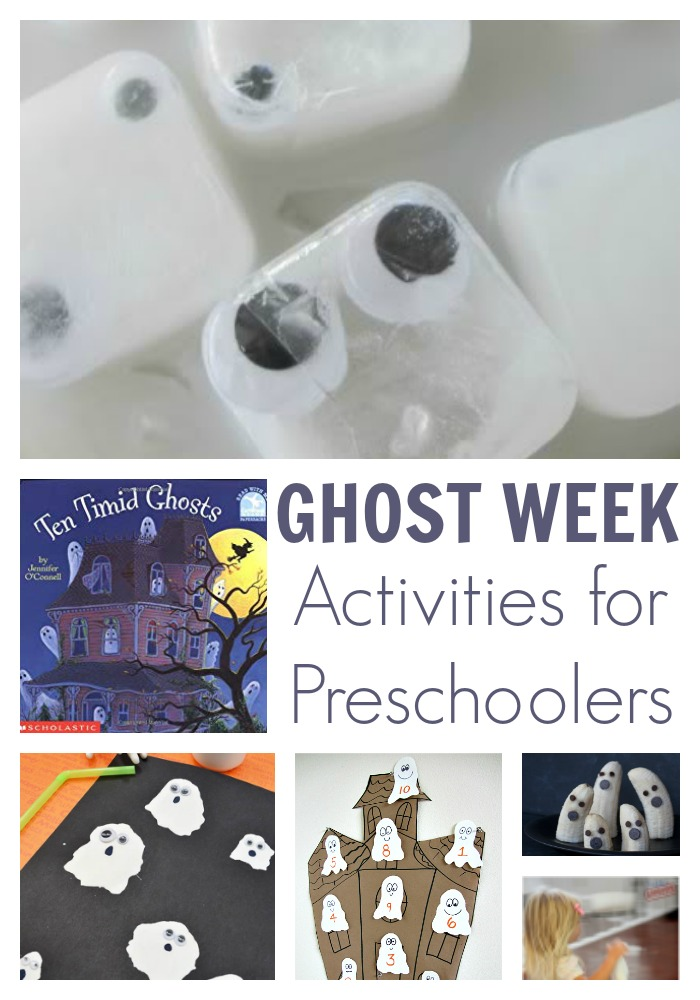 Fun ghost themed activities for a Halloween week of learning, playing and creating from The Virtual Book Club for Kids
