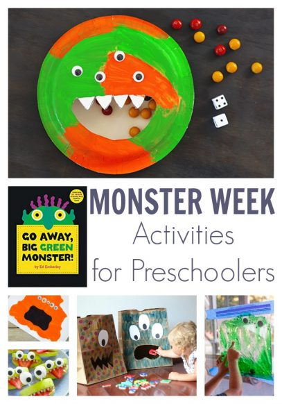 Weekly Plan for Preschoolers inspired by the book Go Away Big Green Monster featuring hands-on activities to play, create, learn and have fun together.
