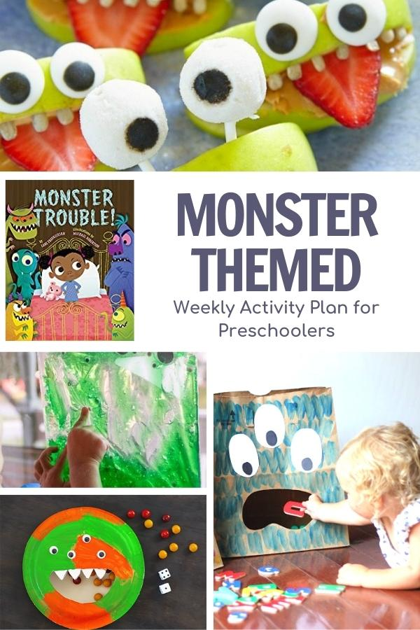 collage of simple and easy low prep monster activities for preschooleers and the cover of the virtual book club for kids featured book Monster Trouble