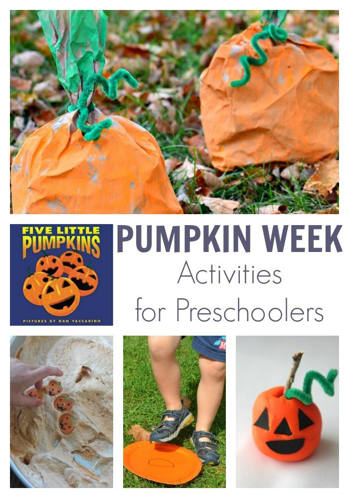 Fun pumpkin week themed activities for preschoolers featuring the picture book 5 Little Pumpkins by Dan Yaccarino. Have fun, read, play, create and learn