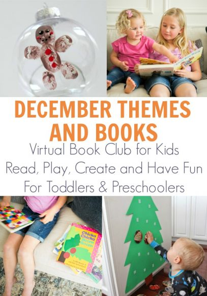 December themes and books from the Virtual Book Club for Kids. Read, Play, Create, Learn and Have Fun with these fun planned weeks of activities you can do with your older toddlers and preschoolers