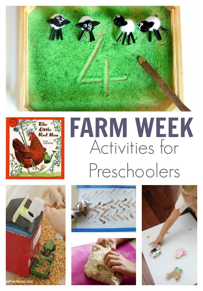 Selection of hands-on activities for preschooler based around the farm theme featuring The Little Red Hen classic picture book for kids.