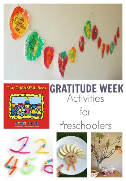 A week of gratitude themed activities for preschoolers inspired by the book The Thankful Book by Todd Parr