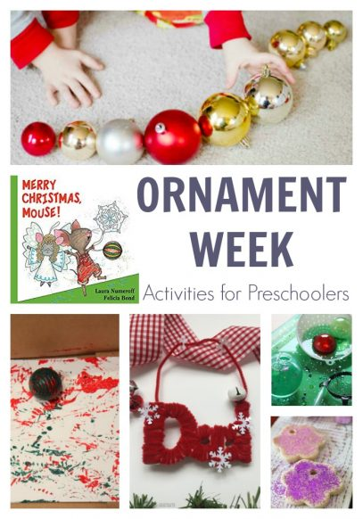 Start of your Christmas Activities with your Preschooler with this fun week of hands-on activities planned for you on the theme of Ornaments featuring Merry Christmas Mouse! by Laura Numeroff.
