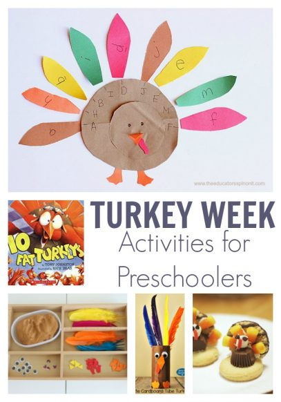 Turkey Week Activities for Preschoolers featuring 10 fat turkeys