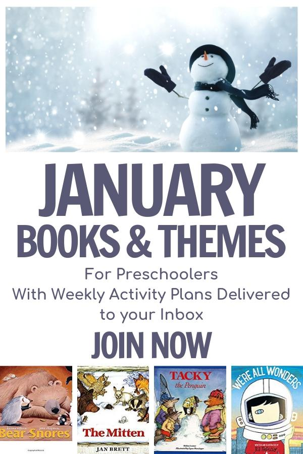 January books and themes for preschoolers with weekly activity plans delivered to your inbox