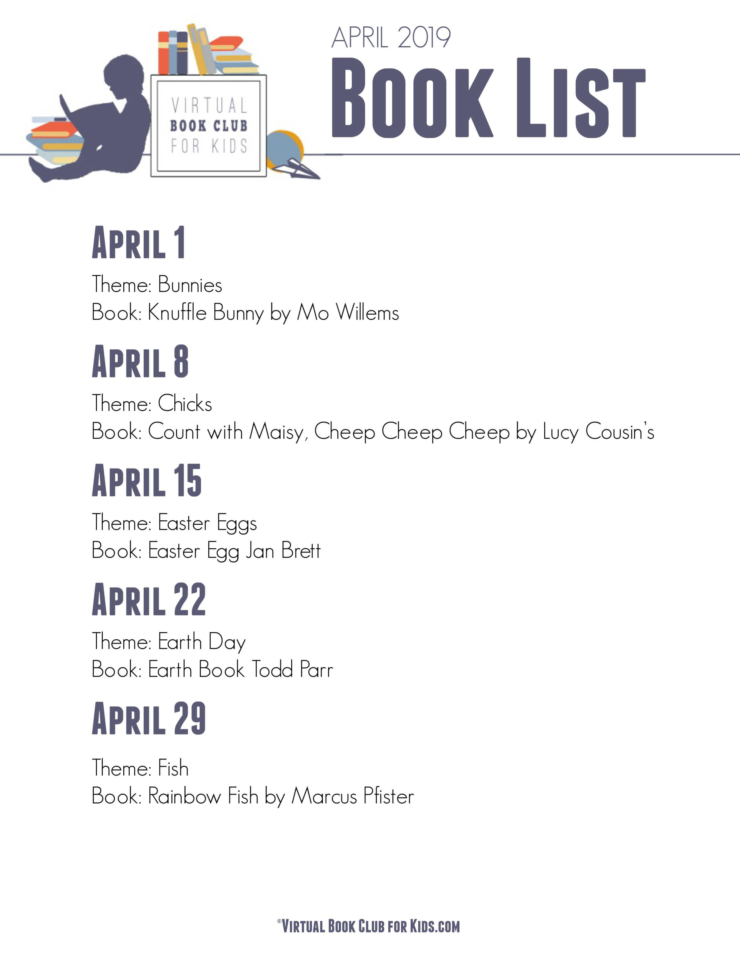 VBC BOOK LIST April 2019