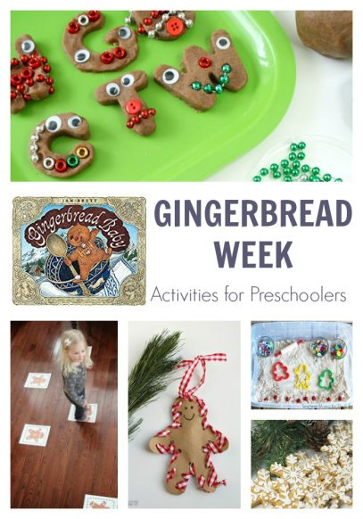 gingerbread theme activity plan for a week of activities for preschoolers featuring gingerbread baby