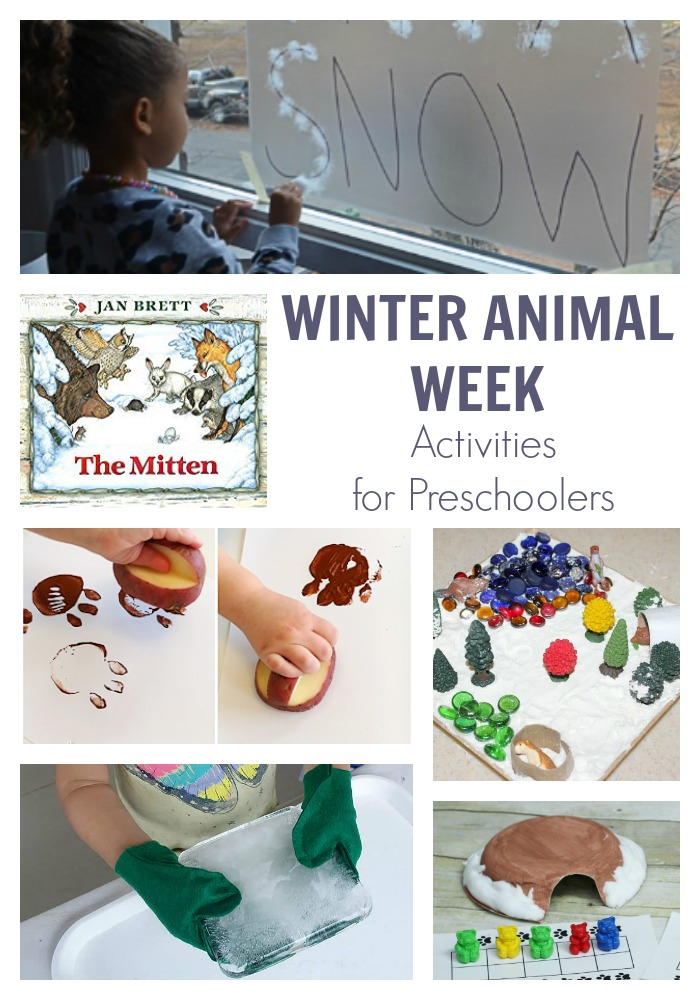 Activity Week Plan for Preschoolers on the theme of Winter Animals featuring The Mitten by Jan Brett. Have fun, play, create and learn with this fun unit theme for tots.