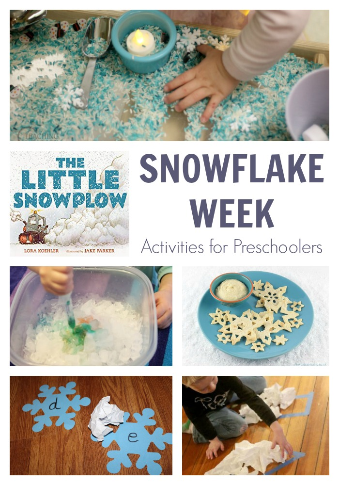 A simple week of activities for preschoolers to learn, play, create and have fun on the theme of Snowflakes featuring the book The Little Snowplow by Lora Koehler