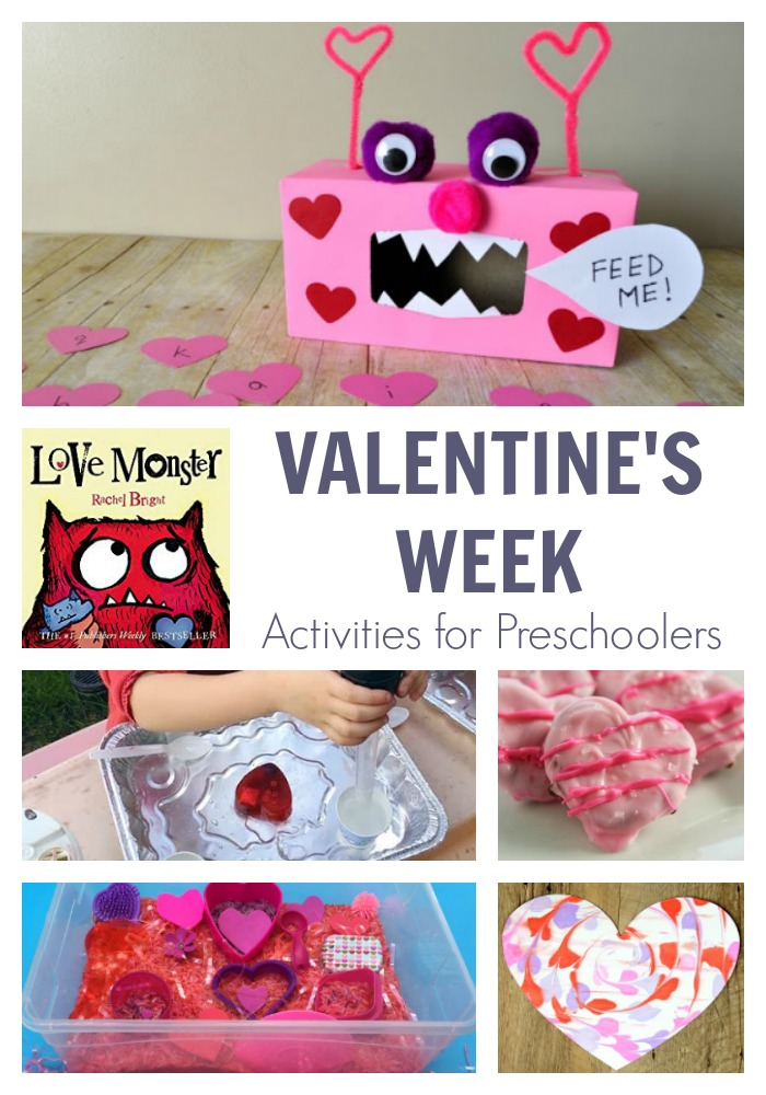 Valentines week activities for preschoolers featuring Love Monster by Rachel Brights