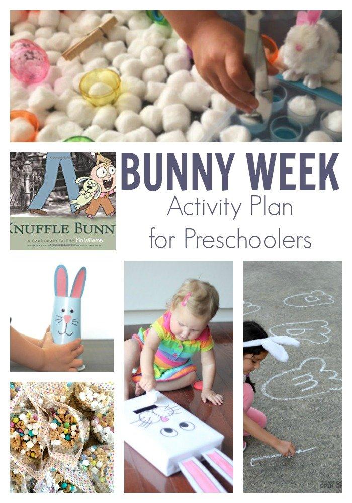 Bunny Week Activity plan for Preschoolers featuring Knuffle Bunny