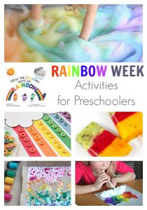 A fun week plan of activities for preschoolers on the theme of Rainbows ideal for spring or St Patrick's Day. Featuring How the Crayons Saved the Rainbow and 5 easy, simple activities to play, learn and create whilst having fun.