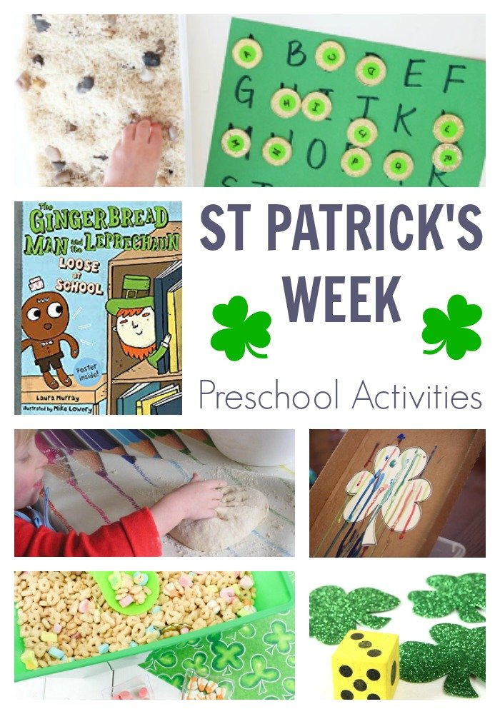 St Patricks week activities for preschoolers featuring the gingerbread man and the leprechaun. Have fun, play, create and learn with your preschooler whilst celebrating St Patrick's Day.