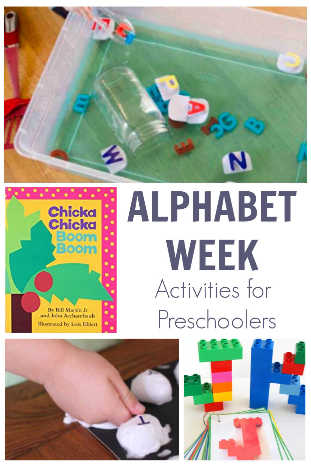 Alphabet Week Activities Collage showing a pick of the best Activities for preschoolers to do whilst reading Chicka Chicka Boom Boom
