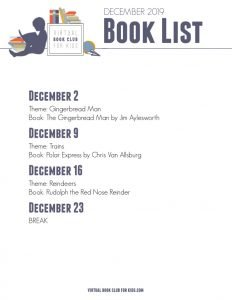 December Book List for Virtual Book Club for Kids with Dates, Themes and Books for 2019