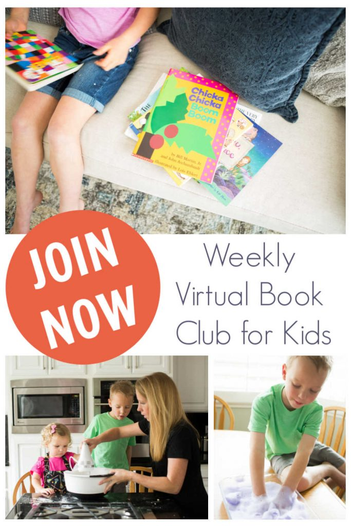 Collage of activities inspired by books to do at home with your toddlers and preschoolers with text reading JOIN NOW Weekly Virtual Book Club for Kids