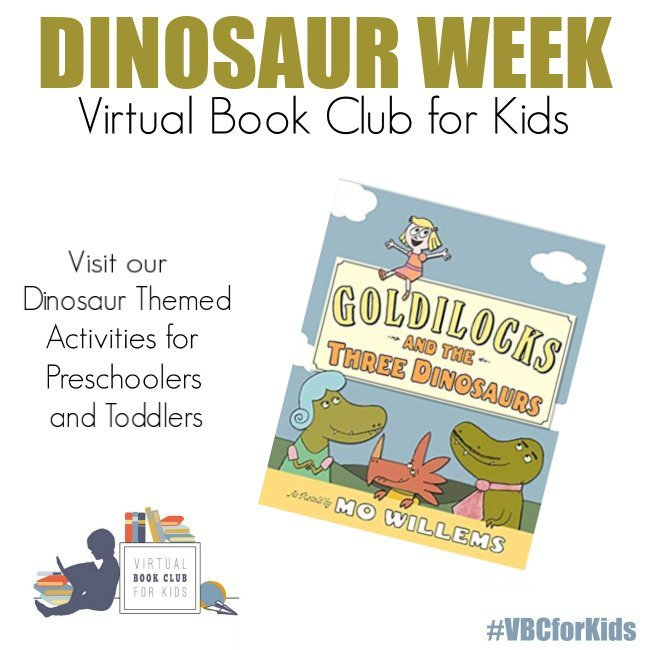 Goldilocks and the Three Dinosaurs Book Cover featuring Book Activities for Kids