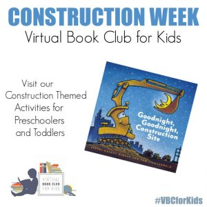 Goodnight Goodnight Construction site Book Cover featuring Book Activities for Kids