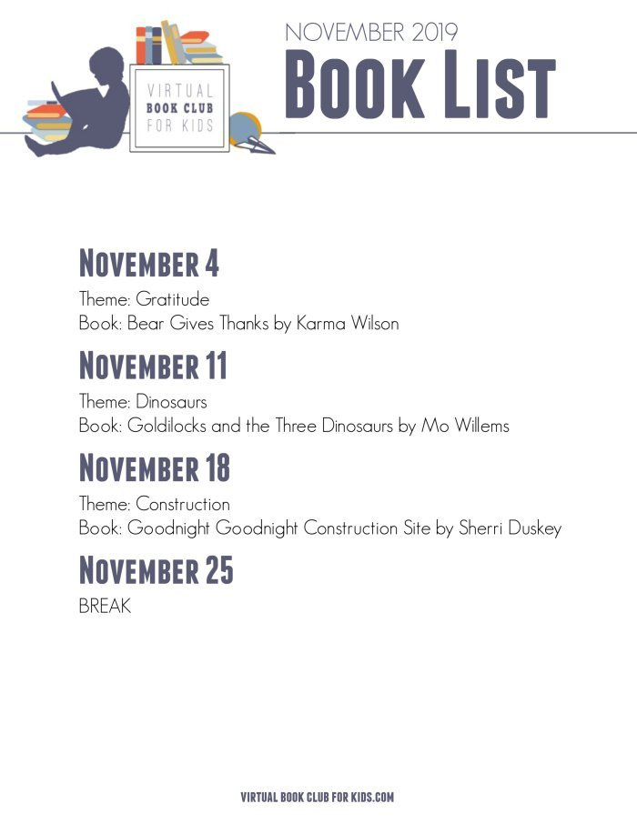 November Book List for Virtual Book Club for Kids with Dates, Themes and Books for 2019