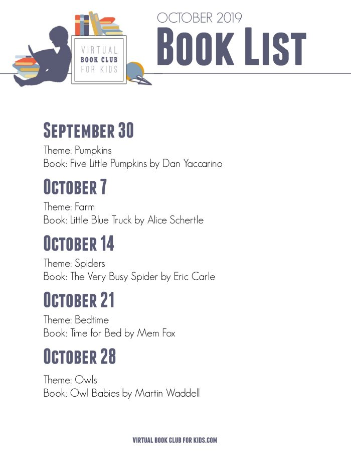 October Book List for Virtual Book Club for Kids with Dates, Themes and Books for 2019