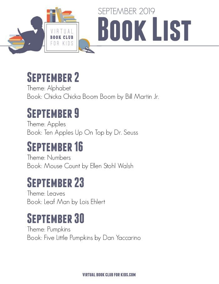 September Book List for Virtual Book Club for Kids with Dates, Themes and Books for 2019