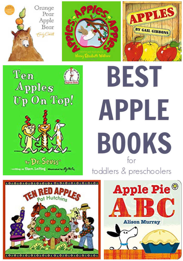 collage of best apple books to read with toddlers and preschoolers