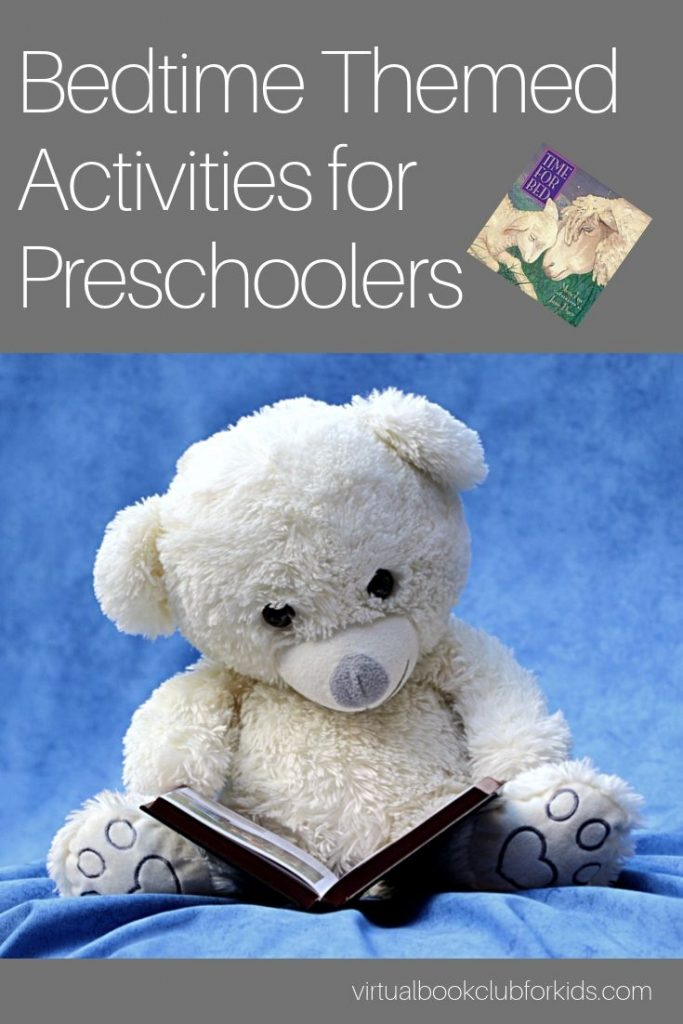 Cute teddy bear reading a bedtime story for the Bedtime themed Activities for preschoolers from the Virtual Book Club for Kids