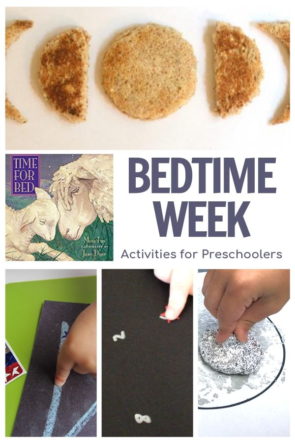bedtime week of activities for preschoolers collage with featured book Time for Bed by Mem Fox