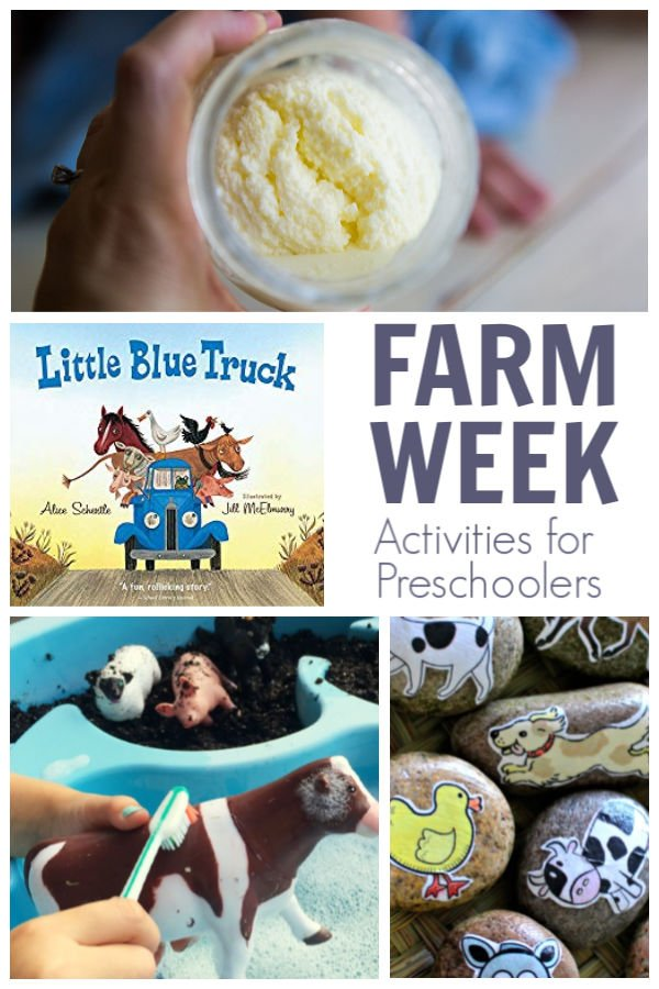 farm week activities for preschooler featuring Little blue truck from the Virtual Book Club for Kids