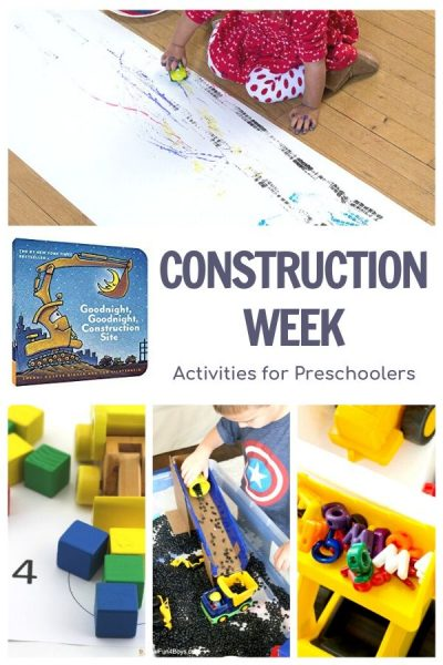 construction week activities for preschoolers featuring Goodnight Goodnight Construction Site