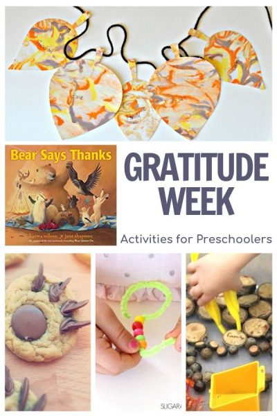 gratitude week activities for preschoolers featuring Bear Says Thanks